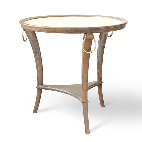 Subra 3 Legged Round Side Table With Vellum Top